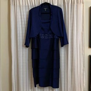 Navy blue tiered dress